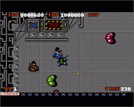 In game image of Alien Syndrome on the Commodore Amiga.