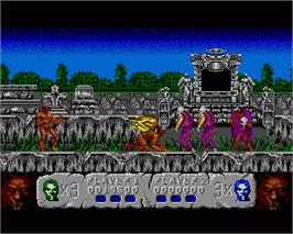 In game image of Altered Beast on the Commodore Amiga.