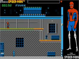 In game image of Amazing Spider-Man on the Commodore Amiga.