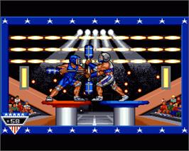 In game image of American Gladiators on the Commodore Amiga.
