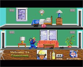 In game image of Arachnophobia on the Commodore Amiga.