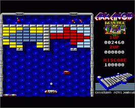 In game image of Arkanoid - Revenge of DOH on the Commodore Amiga.