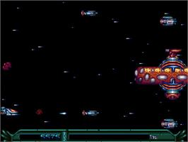 In game image of Armalyte on the Commodore Amiga.