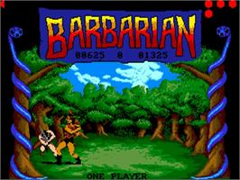 In game image of Barbarian: The Ultimate Warrior on the Commodore Amiga.