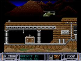 In game image of Battle Valley on the Commodore Amiga.