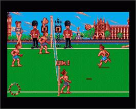 In game image of Beach Volley on the Commodore Amiga.