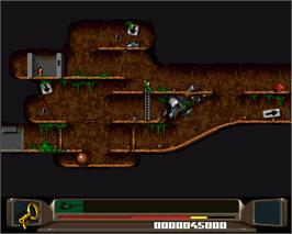 In game image of Benefactor on the Commodore Amiga.