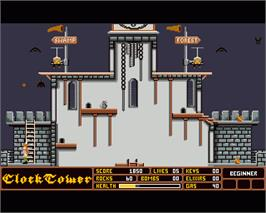 In game image of Beyond Dark Castle on the Commodore Amiga.