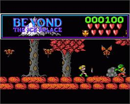 In game image of Beyond the Ice Palace on the Commodore Amiga.