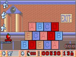 In game image of Bill's Tomato Game on the Commodore Amiga.