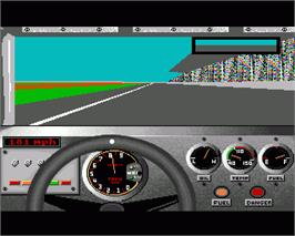 In game image of Bill Elliott's NASCAR Challenge on the Commodore Amiga.