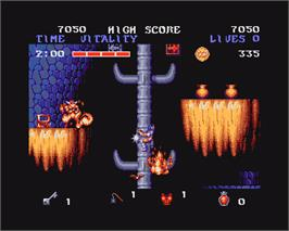 In game image of Black Tiger on the Commodore Amiga.