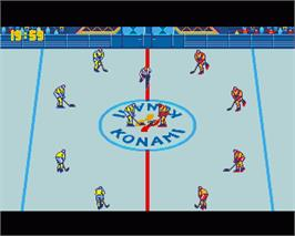 In game image of Blades of Steel on the Commodore Amiga.