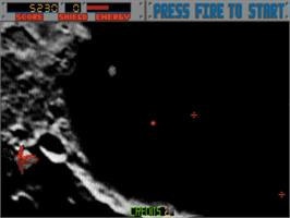 In game image of Blasteroids on the Commodore Amiga.