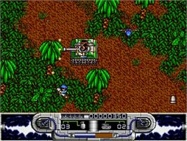 In game image of Blazing Thunder on the Commodore Amiga.