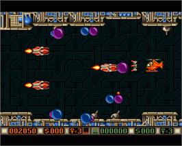 In game image of Blood Money on the Commodore Amiga.