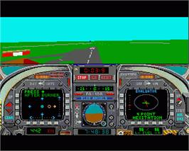 In game image of Blue Angels: Formation Flight Simulation on the Commodore Amiga.