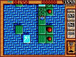 In game image of Bombuzal on the Commodore Amiga.