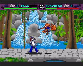 In game image of Brutal: Paws of Fury on the Commodore Amiga.