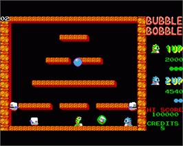 In game image of Bubble Bobble on the Commodore Amiga.