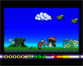 In game image of Bug Bash on the Commodore Amiga.