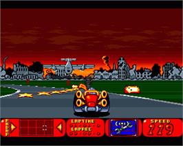 In game image of Bump 'n' Burn on the Commodore Amiga.