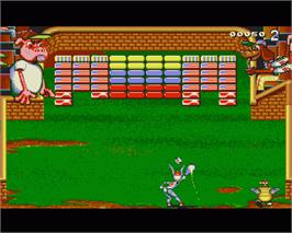 In game image of Bunny Bricks on the Commodore Amiga.