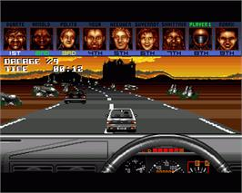 In game image of Burning Rubber on the Commodore Amiga.