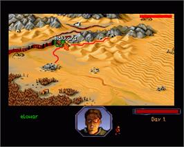 In game image of Burntime on the Commodore Amiga.