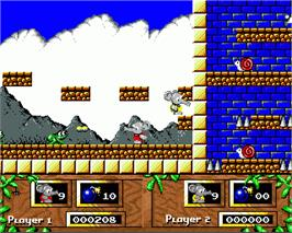 In game image of CJ's Elephant Antics on the Commodore Amiga.