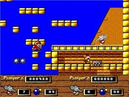 In game image of CJ In the USA on the Commodore Amiga.