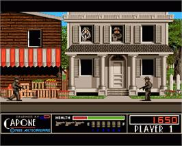 In game image of Capone on the Commodore Amiga.