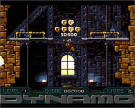 In game image of Captain Dynamo on the Commodore Amiga.