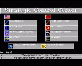 In game image of Cardinal of the Kremlin on the Commodore Amiga.