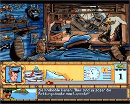 In game image of Caribbean Disaster on the Commodore Amiga.