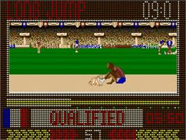In game image of Carl Lewis Challenge on the Commodore Amiga.