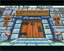 In game image of Castle of Dr. Brain on the Commodore Amiga.