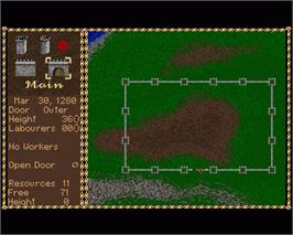 In game image of Castles: The Northern Campaign on the Commodore Amiga.