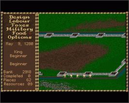 In game image of Castles 2: Siege & Conquest on the Commodore Amiga.