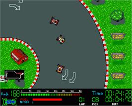 In game image of Champion Driver on the Commodore Amiga.