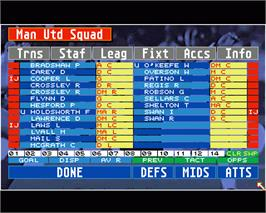 In game image of Championship Manager on the Commodore Amiga.