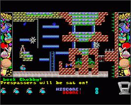 In game image of Chubby Gristle on the Commodore Amiga.