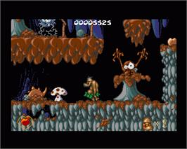 In game image of Chuck Rock 2: Son of Chuck on the Commodore Amiga.