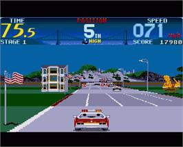In game image of Cisco Heat: All American Police Car Race on the Commodore Amiga.
