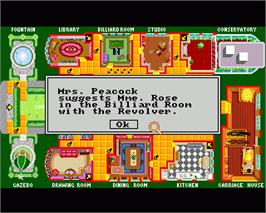 In game image of Clue: Master Detective on the Commodore Amiga.