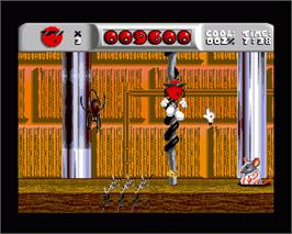 In game image of Cool Spot on the Commodore Amiga.