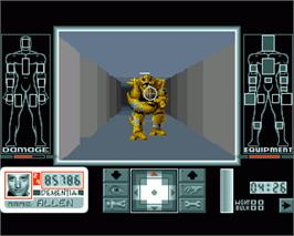 In game image of Corporation on the Commodore Amiga.