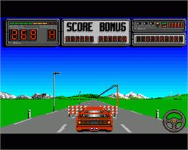 In game image of Crazy Cars 2 on the Commodore Amiga.
