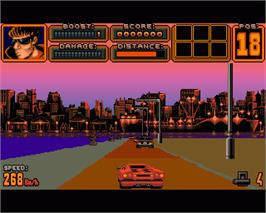 In game image of Crazy Cars 3 on the Commodore Amiga.