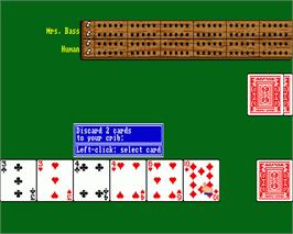 In game image of Cribbage King / Gin King on the Commodore Amiga.